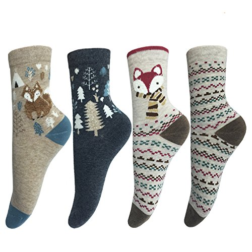 lotuyacy-cute-animal-designe-womens-comfortable-cotton-crew-casual-socks-4-pack-fox