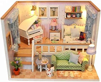 La Petite Maison Miniature DIY Wooden Dollhouse KitFurniture DIY DollhouseLED Lights Music and Dust Covers for Girls and Adults Eco Friendly 1:24 Scale (Because of You)