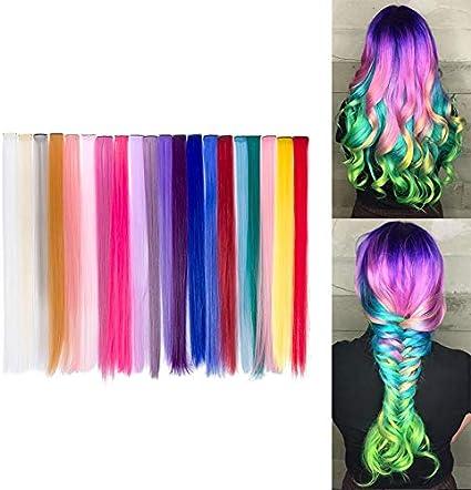Beauty7 20pcs 20 inches Set de 20 Colores Pelucas Lacio Trenzas Color Extensiones de Cabello Clip Sintético Hair Extensions Accesorios de Pelo DIY ...