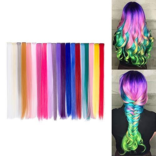 Beauty7 20pcs 20 inches Set de 20 Colores Pelucas Lacio Trenzas Color Extensiones de Cabello Clip Sintetico Hair Extensions Accesorios de Pelo DIY Decoracion Cosplay Fiestas Party