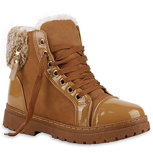 Stiefelparadies Damen Outdoor Boots Kunstpelz Winter Stiefeletten Warm Gefüttert Flandell Hellbraun Lack