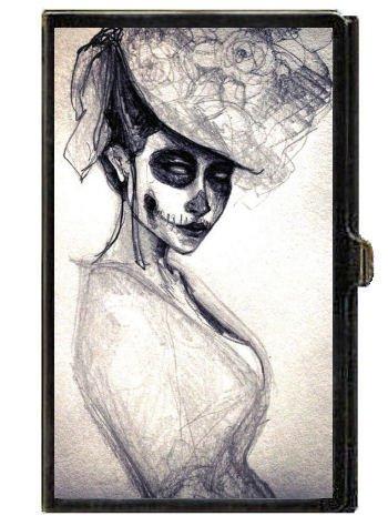 Gothic Horror Victorian Girl Skull Skeleton Business Card Case Holder USA Made