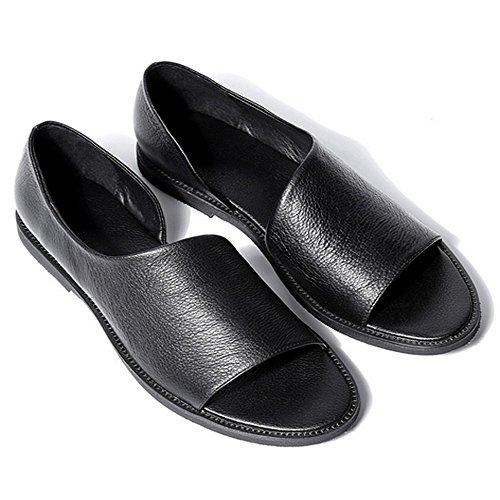 Genuine Leather Gladiator Sandals Men Slip on Open Toe Slippers Loafer Shoes (8, Black)