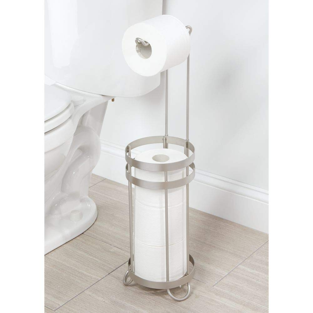 argento opaco Comoda piantana bagno per carta igienica e 3 rotoli di scorta mDesign Porta carta igienica da terra Elegante contenitore portarotolo carta igienica