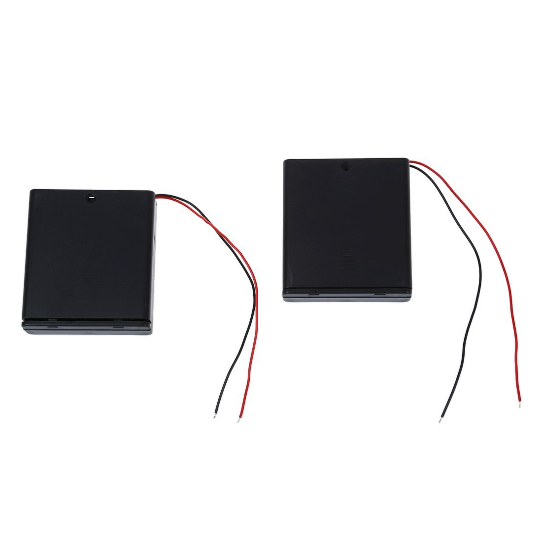 SODIAL(R) 2 Pcs 4 x AA 6V Battery Holder Case Box Wired ON/OFF Switch w Cover