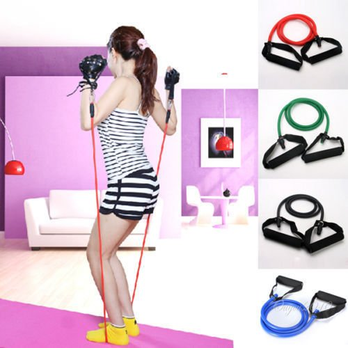 Resistance Band Stretch Fitness Exercise Latex Tube Cable...