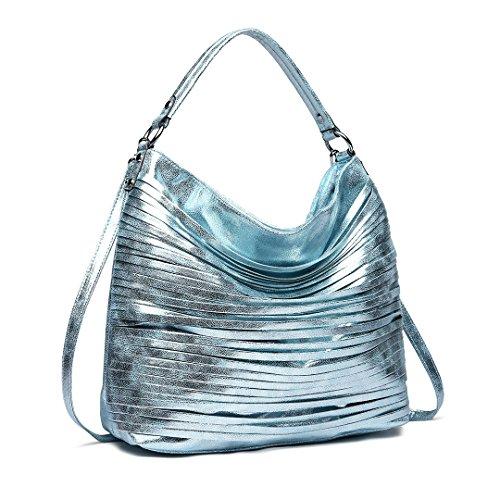 Miss Lulu Large Casual Handbag Women Hobo Shoulder Bag Metallic Luster Shine Crossbody Handbag Top Quality Faux Leather 1811 Blue