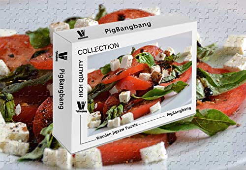 PigBangbang,Difficult Jigsaw Glue Premium Basswood - Tomatoes Feta Cheese Fresh Herbs Balsamic - 500 Piece Jigsaw Puzzle (20.6 X 15.1 '')