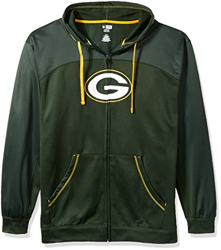 NFL Green Bay Packers Men FULL ZIP HOODIE, DKGRN/GOLD, 2XT -