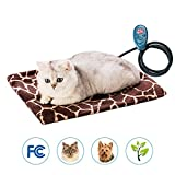 Pet Heating Mat - WAYCOM LED indicating Bed Mats for Cats & Dogs Waterproof and Scratch-proof Electric Pad Heater Warmer Bed Blanket Heating Pad Pat heater (Brown)