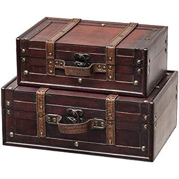Amazon.com: SLPR Decorative Suitcase with Straps (Set of 2, Brown ...