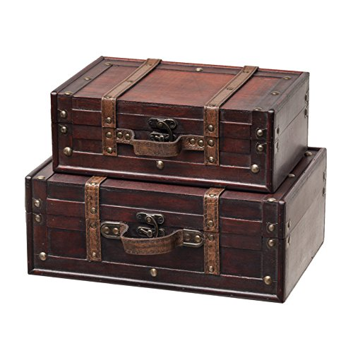 Antique vintage wedding decorations amazon slpr decorative suitcase with straps set of 2 brown old fashioned antique vintage style nesting trunks for shelf home decor birthday parties wedding junglespirit Gallery