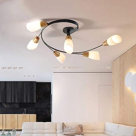 Las luces del techo de madera nórdica minimalista de vidrio ...