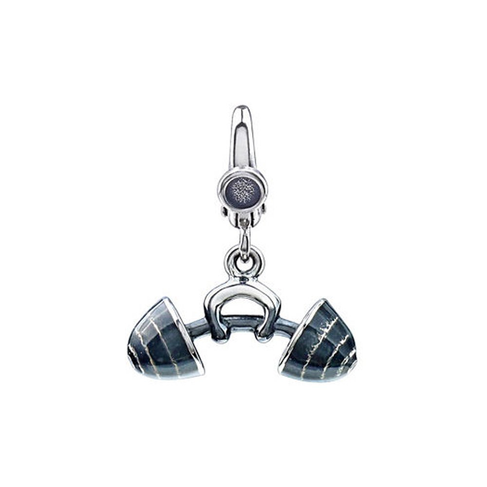 Sterling Silver and Enameled 3D Barbell Clip-On Charm