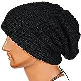 Men's Cool Cotton Beanie Slouch Skull Cap Long Baggy Hip-hop Winter Summer Hat Black