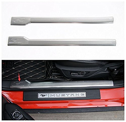 Bestmotoring Stainless Steel Interior Door Sill Guards Entry Plates for Ford Mustang 2015 2016 2017 Silver 2pcs Mustang Door Sill Plates
