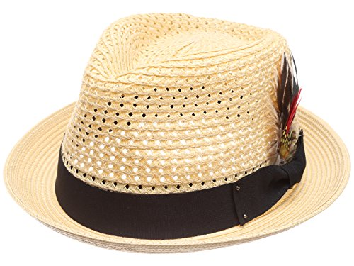 MIRMARU Mens Vented Crown Crushable Trilby Fedora Hat with Removable Feather