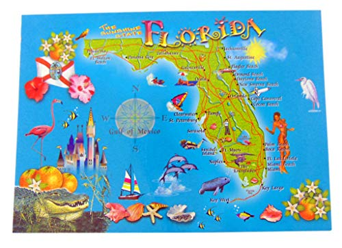 Westman Works Florida Postcard Set Retro Sunshine State Map, Pack of 25