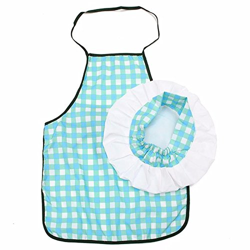 Katoot@ 1 Set Children Kids Cook Painting Apron Hat Costume Little Chef Play House Gift Kids Kitchen DIY Blue Grid Apron -