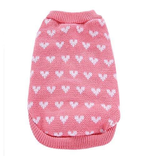 - Glumes Pet Clothes, Puppy Acrylic Sweater Dog Coat Warm Sweatshirt Heart Printed Shirt for Small Dog Medium Dog Or Cat (XS, Pink)