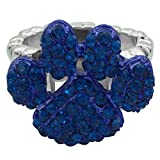 Gypsy Jewels Paw Print School Spirit Mascot Silver Tone Rhinestone Stretch Ring - Assorted Colors (Blue)