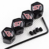 CHAMPLED NEW (4PC) FOR FORD ST Styling LOGO METAL BLACK ANTI-THEFT WHEEL TIRE AIR VALVE STEM CAPS DUST COVER