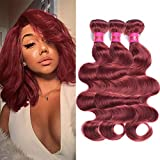 Fashion Lady Hair Peruvian Body Wave Weave Wefts Hair 3 Bundles Peruvian Virgin Remy Human Hair Extensions Deal With Mixed Lengths 10-24 Inch 100g/Bundle (10 12 14,Dark Auburn #33)