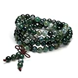 Top Plaza 6mm Tibetan Buddhist Natural Moss Agate Reiki Healing Gemstone Beads 108 Mala Prayer Meditation Rosary Wrap Bracelet Necklace