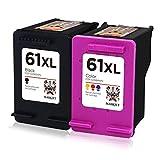 Maskjet Remanufactured for HP 61 Ink Cartridges High Yield, 1 Black + 1 Tri-Color, Ink Level Display for HP Envy 4500 5530 5534, HP Deskjet 1000 1512 2540 3050 3510 HP Officejet 4630 2620 4632 Printer