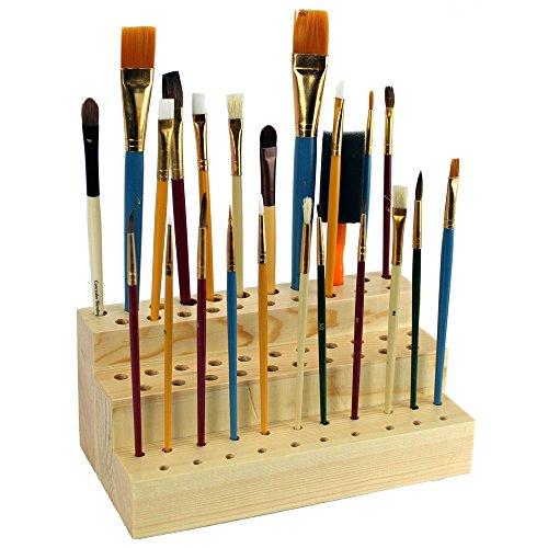 Ikee Design Wooden Cosmetic Make Up Brush Eyeliner Mascara Paintbrush Holder Organizer and Display for 63 Brushes by Ikee Design