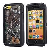 MOONCASE iPhone 5C Case, [Realtree Camo Series] 3 Layers Heavy Duty Defender Hybrid Soft TPU +PC Bumper Triple Shockproof Drop Resistance Protective Case Cover for Apple iPhone 5C -ºÚ¸ÉÒ¶