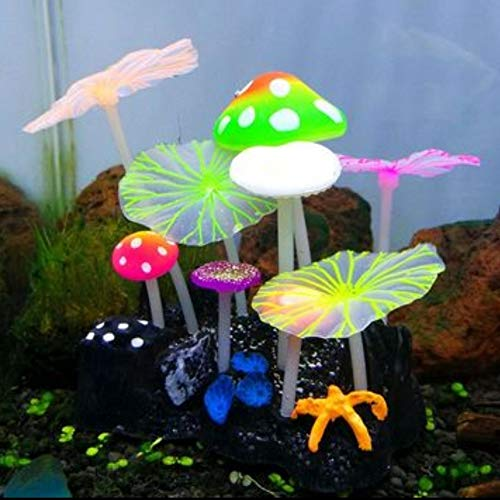 Stock Show Glowing Effect Artificial Silicone Plant Lotus Flower with Leaves Mushrooms for Fish Tank Decoration Aquarium Ornament, 4Lotus Leaves&5Mushrooms