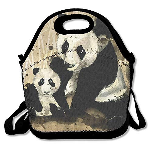 Neoprene Lunch Tote - Panda Waterproof Reusable Lunch Bags Boxes For Men Women Adults Kids Toddler Nurses With Adjustable Shoulder Strap