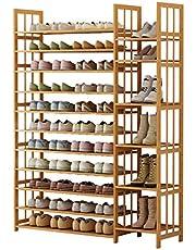 Shoe Rack Storage Shelf 10/11-Tiers Shoe Rack Large, Shoe Storage Organiser Wood Shoe Rack Multi-Functional Shoe Tower Shelf for Entryway Living Room Shoe Cabinet