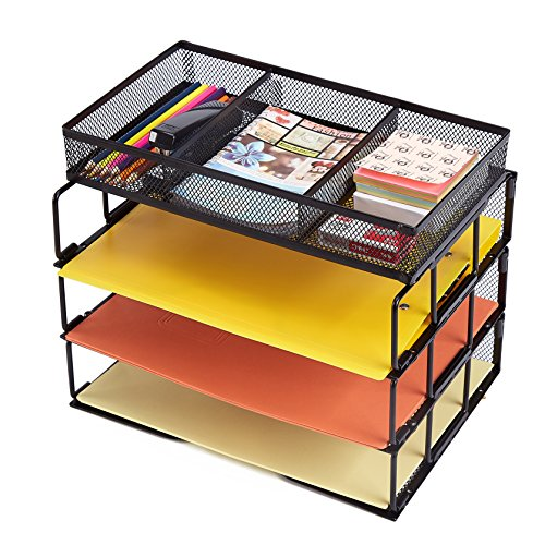 Rackarster Mesh Desktop Office Organizer 3-Tier Stackable Desk Paper Organizer Letter Tray with File Organizer Sorter 3 Compartment, (Stacking Supply Drawer)