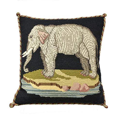 The Elephant Needlepoint Tapestry Kit with black background from Elizabeth Bradley premium English needlework pillow or rug project with 100% wool yarns. Victorian Animals Collection.