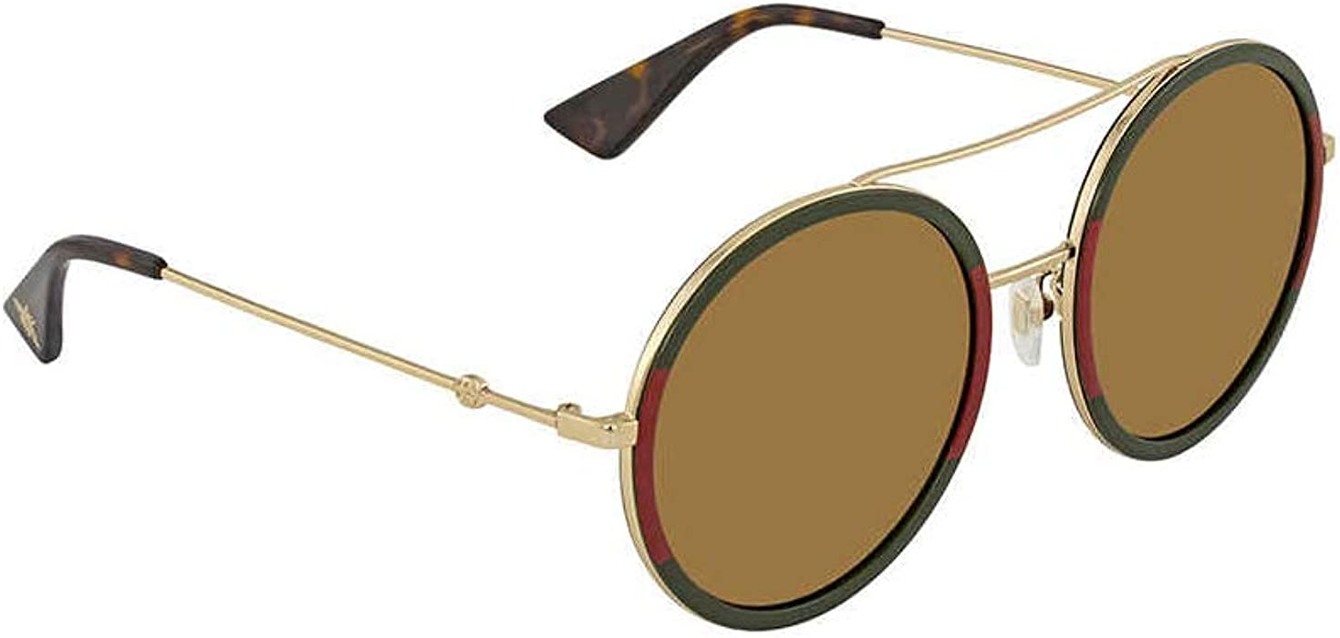 0d50b9f0cb Amazon.com  Gucci Gold Round Ladies Sunglasses GG0061S 012 56  Clothing
