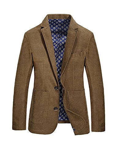 Gihuo Men's Casual Classic Fit Notched Lapel Two-Button Suit Blazer Sport Jacket (Small, - Blazer Brown