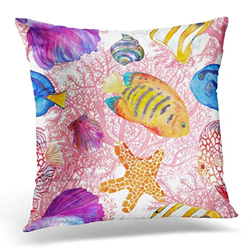 Watercolor Fish Endless Betta Splendens Blue Tang Red Discus Flame Angelfish Copperband Butterflyfish Decorative Pillow Case Home Decor Square 18x18 Inches ()
