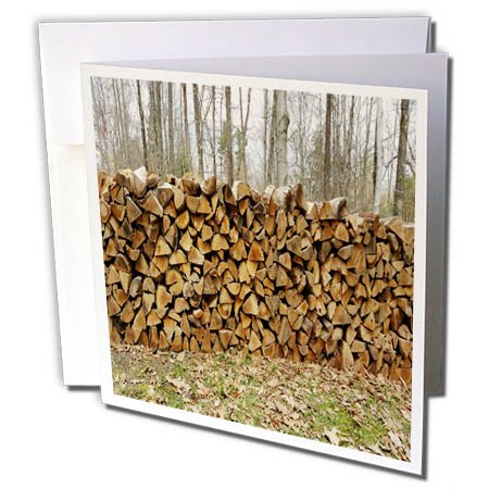 3dRose TDSwhite – Winter Seasonal Nature Photos - Cut Stacked Woodpile Against Forest Winter Sky - 1 Greeting Card with Envelope (gc_284851_5)