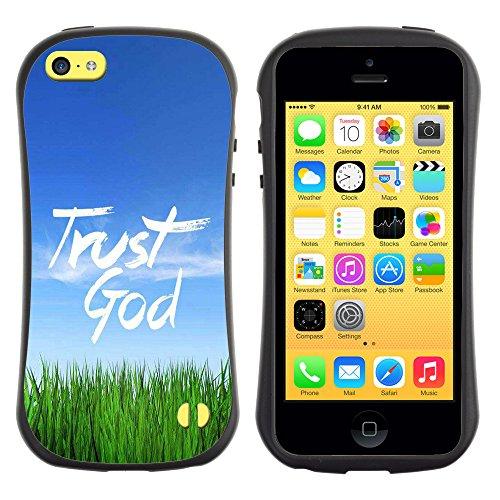 DREAMCASE Citation de Bible Silicone et Rigide Coque Protection Image Etui solide Housse T¨¦l¨¦phone Case Pour APPLE IPHONE 5C - TRUST GOD