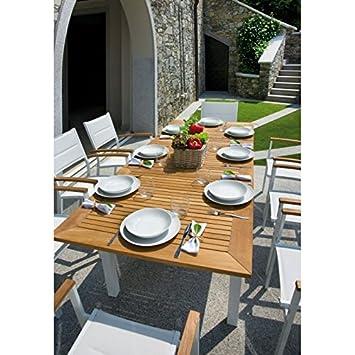 Table de jardin extensible en teck et aluminium Ivoire Ajaccio ...