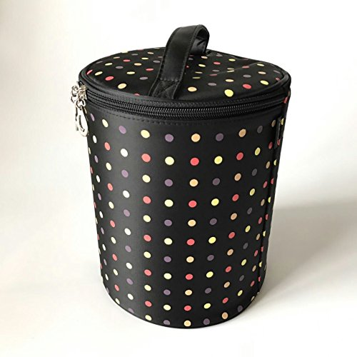 Alsomtec 2-Piece Mother package Nylon Dots Makeup Case with quality zipper single layer travel Makeup bags (Black) by ALSOMTEC