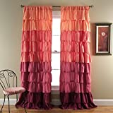Lush Decor Ruffle Window Panel, 84 by 50-Inch, Peach/Plum