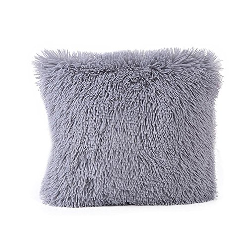 Clearance! Paymenow Fashion Soft Solid Plush Square Pillow Case Sofa Waist Throw Cushion Cover Home Decor Pillow Covers (16'' X 16'', Gray) - 16' Zippered Throw Pillow