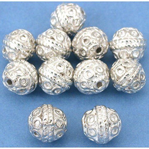 Beads Silver Plt Beading (Round Rope Bali Beads Silver Plt Beading 8mm Approx 10)