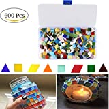 Yoodelife Mosaic Tiles Mixed Colors and Shapes Non-transparent Triangle Square Rhombus Organized in Plastic Container for DIY Arts Crafts, Home Decoration, 600 Pieces/400g