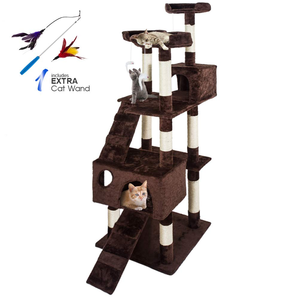 Masthome Cat Play Towers and Trees for Large Cats 170 CM Cat Tree with Scratch Posts Multi-level Cat Activity Centres-Send 1pc Cat Wand