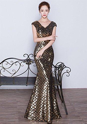 Mujer Dorado Para Ajustado Vestido Drasawee ItTBw1x