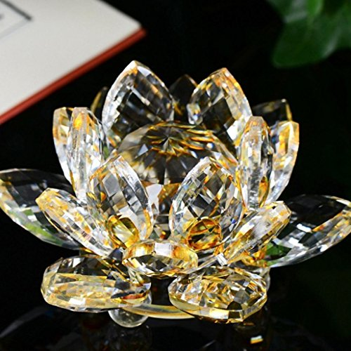 Crystal Blossom Lotus - Lavany Crystal Glass Lotus Figure Paperweight Ornament Feng Shui Decor Collection,Home Decorative (Yellow)